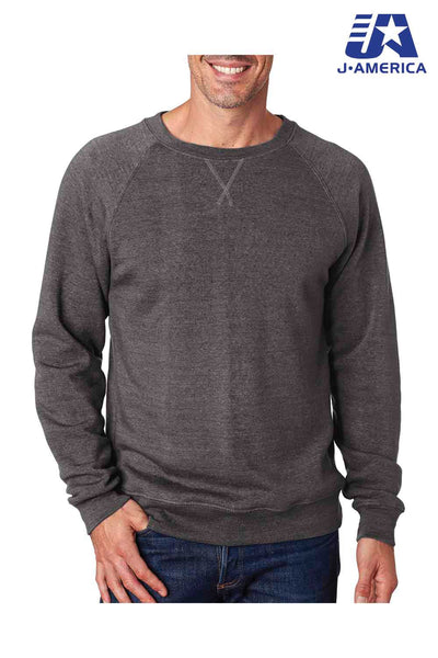 J America JA8875 Black Fleece Crewneck Sweatshirt Front
