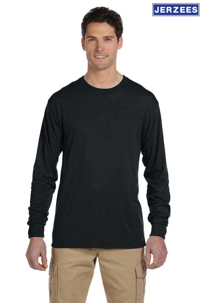 Jerzees 21ML Black Dri-Power Polyester Long Sleeve Crewneck T-Shirt Front