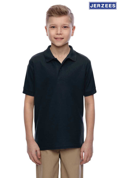 Jerzees 537YR Black Easy Care Blend Short Sleeve Polo Shirt Front