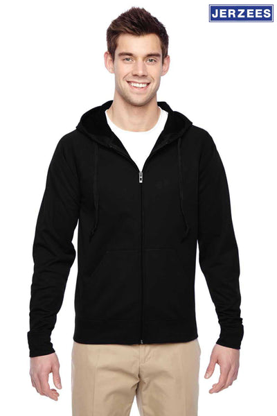 Jerzees PF93MR Black Dri-Power Polyester Hooded Sweatshirt Hoodie Front