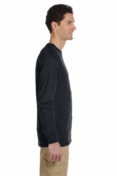 Jerzees 21ML Black Dri-Power Polyester Long Sleeve Crewneck T-Shirt Side