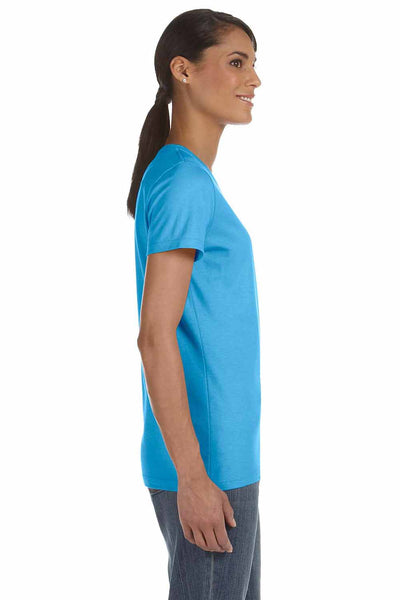 Fruit Of The Loom L3930R Aquatic Blue HD Cotton Short Sleeve Crewneck T-Shirt Side