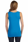 LAT 3690 Cobalt Blue Fine Cotton Jersey Longer Length Tank Top Back