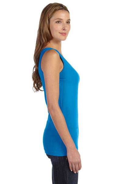 LAT 3690 Cobalt Blue Fine Cotton Jersey Longer Length Tank Top Side