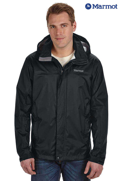Marmot 41200 Black PreCip Nylon Hooded Jacket Front