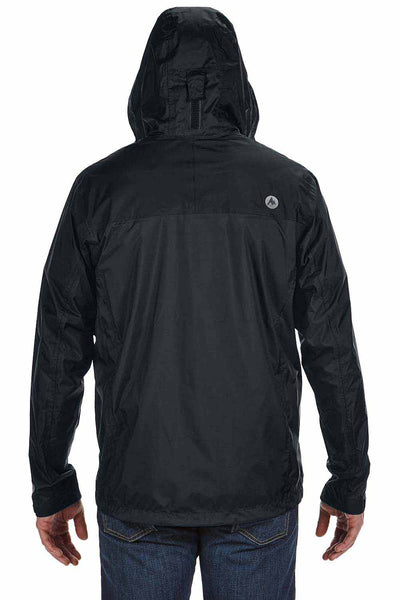 Marmot 41200 Black PreCip Nylon Hooded Jacket Back