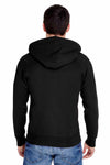 Hanes N280 Black Nano Blend Hooded Sweatshirt Hoodie Back