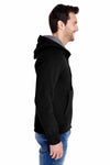 Hanes N280 Black Nano Blend Hooded Sweatshirt Hoodie Side