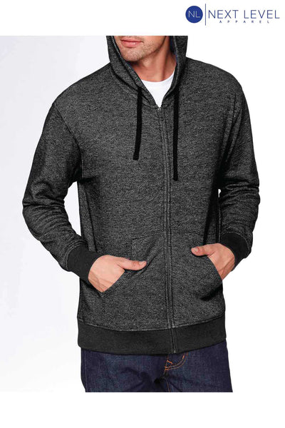 Next Level 9600 Black Denim Fleece Hooded Sweatshirt Hoodie Front