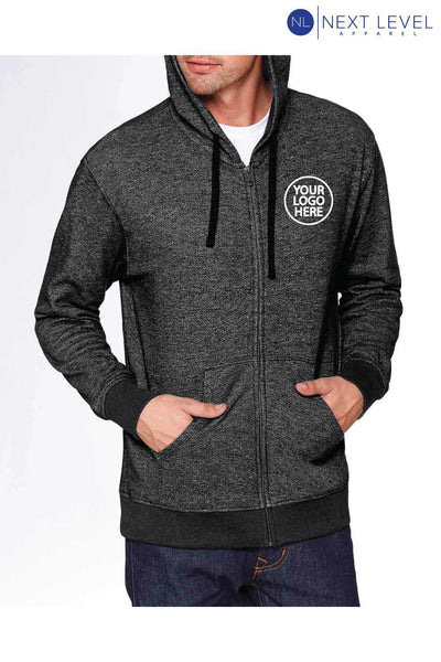 Next Level 9600 Black Denim Fleece Hooded Sweatshirt Hoodie Embroidery