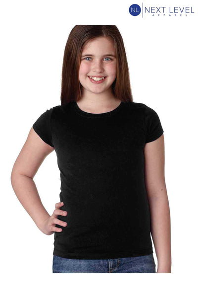 Next Level N3710 Black Princess Cotton Short Sleeve Crewneck T-Shirt Front