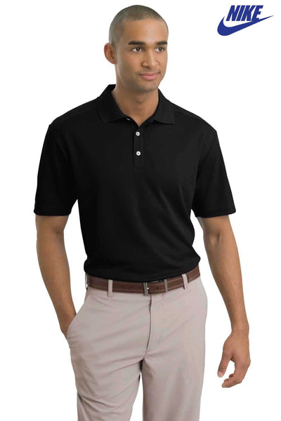 Nike 267020 Black Dri-Fit Polyester Short Sleeve Polo Shirt Front