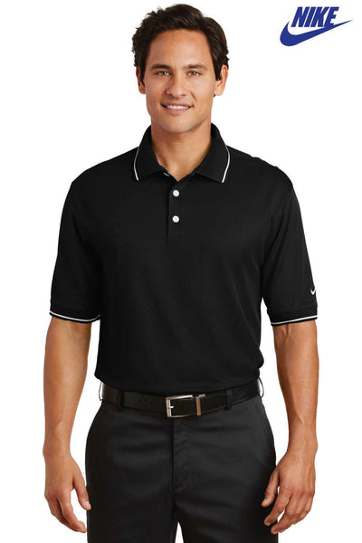 Nike 319966 Black Dri-Fit Polyester Tipped Short Sleeve Polo Shirt Front