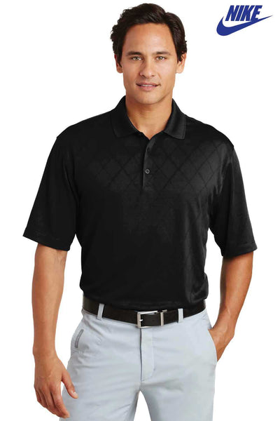 Nike 349899 Black Dri-Fit Polyester Cross Over Textured Short Sleeve Polo Shirt Front