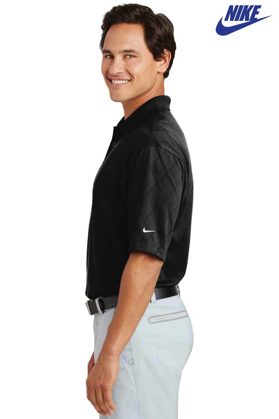 Nike 349899 Black Dri-Fit Polyester Cross Over Textured Short Sleeve Polo Shirt Side