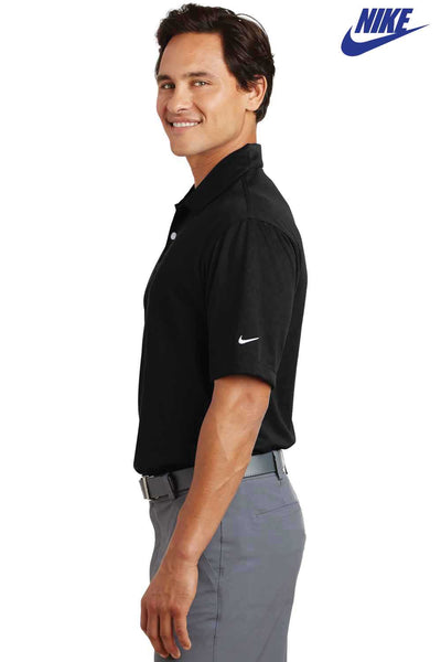 Nike 373749 Black Dri-Fit Polyester Pebble Texture Short Sleeve Polo Shirt Side