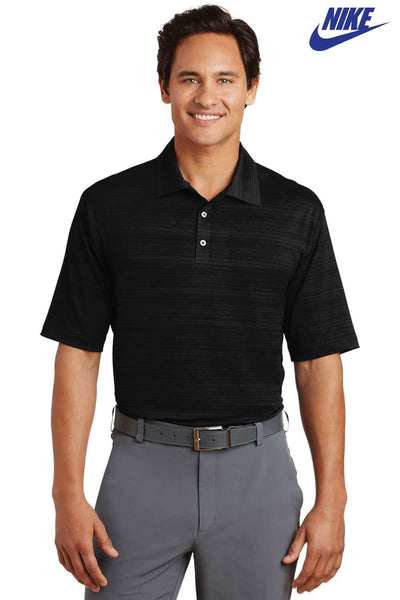 Nike 429438 Black Dri-Fit Blend Elite Series Heather Fine Line Bonded Short Sleeve Polo Shirt Front