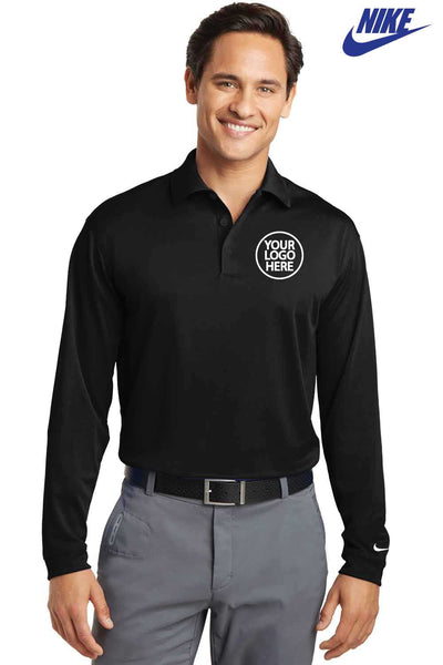 Nike 466364 Black Dri-Fit Polyester Stretch Tech Long Sleeve Polo Shirt Embroidery