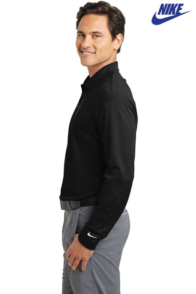 Nike 466364 Black Dri-Fit Polyester Stretch Tech Long Sleeve Polo Shirt Side