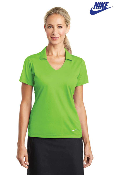 Nike 637165 Action Green Dri-Fit Polyester Vertical Mesh Short Sleeve Polo Shirt Front