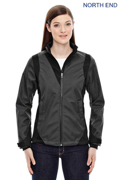 North End 78686 Carbon Grey/Black Sport Blue Commute Three Layer Two Tone Soft Shell Jacket Front