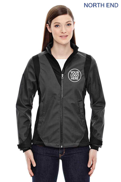 North End 78686 Carbon Grey/Black Sport Blue Commute Three Layer Two Tone Soft Shell Jacket Logo