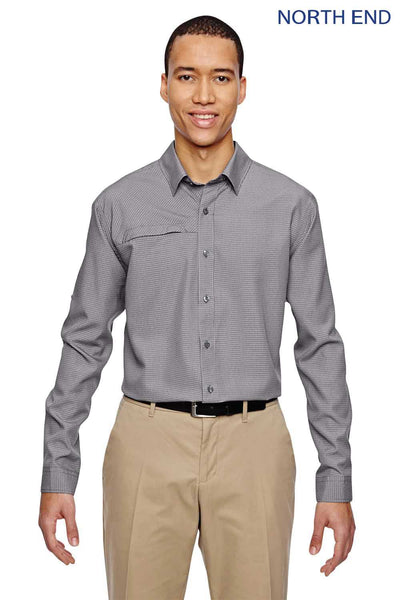North End 87046 Graphite Grey Excursion F.B.C. Performance Blend Textured Long Sleeve Button Down Shirt Front