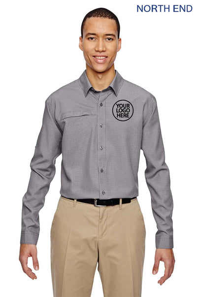 North End 87046 Graphite Grey Excursion F.B.C. Performance Blend Textured Long Sleeve Button Down Shirt Logo