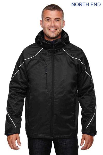 North End 88196 Black Angle 3-In-1 Hooded Jacket Front