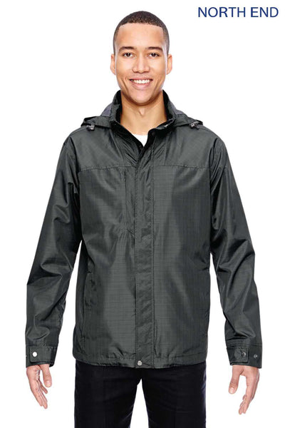 North End 88216 Graphite Grey Excursion Transcon Lightweight Polyester Hooded Jacket Front