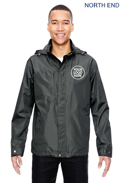 North End 88216 Graphite Grey Excursion Transcon Lightweight Polyester Hooded Jacket Embroidery