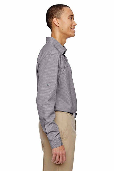 North End 87046 Graphite Grey Excursion F.B.C. Performance Blend Textured Long Sleeve Button Down Shirt Side