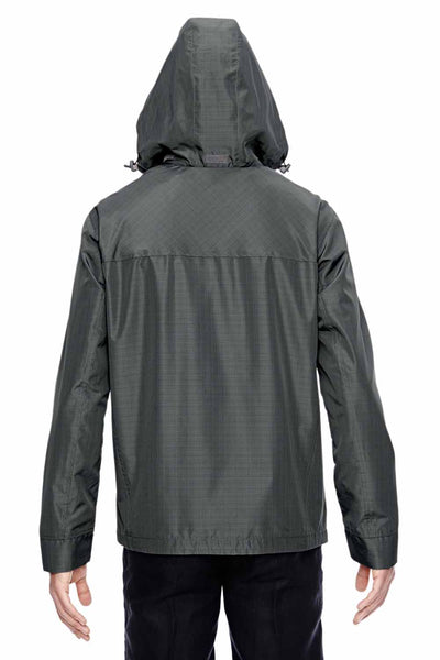 North End 88216 Graphite Grey Excursion Transcon Lightweight Polyester Hooded Jacket Back
