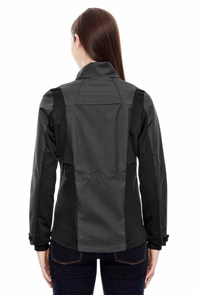 North End 78686 Carbon Grey/Black Sport Blue Commute Three Layer Two Tone Soft Shell Jacket Back