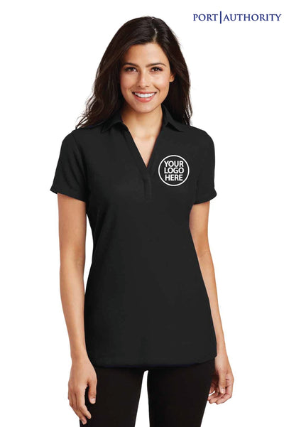 Port Authority L5001 Black Silk Touch Blend Short Sleeve Polo Shirt Logo