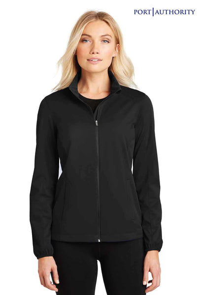 Port Authority L717 Black Active Polyester Soft Shell Jacket Front