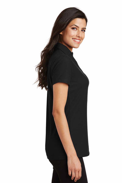 Port Authority L5001 Black Silk Touch Blend Short Sleeve Polo Shirt Side
