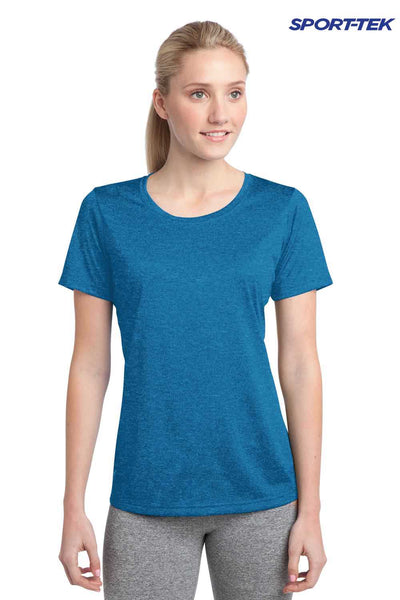Sport-Tek LST360 Blue Wake Contender Polyester Heather Short Sleeve Crewneck T-Shirt Front
