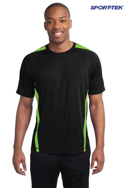 Sport-Tek ST351 Black/Lime Green PosiCharge Polyester Competitor Colorblock Short Sleeve Crewneck T-Shirt Front
