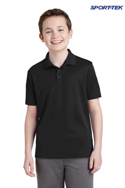 Sport-Tek YST640 Black PosiCharge Polyester RacerMesh Short Sleeve Polo Shirt Front