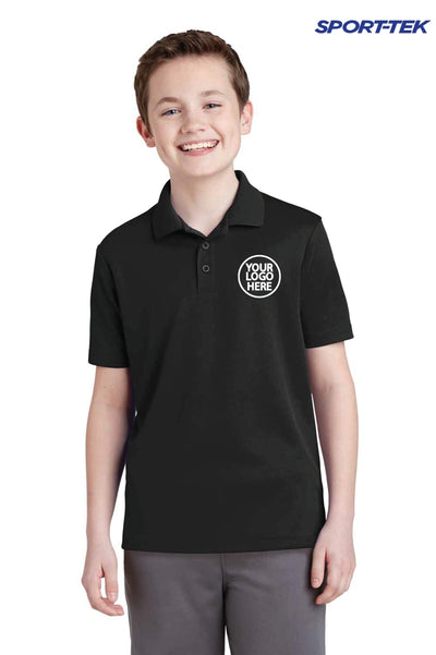 Sport-Tek YST640 Black PosiCharge Polyester RacerMesh Short Sleeve Polo Shirt Logo