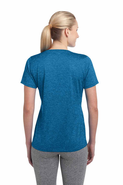 Sport-Tek LST360 Blue Wake Contender Polyester Heather Short Sleeve Crewneck T-Shirt Back