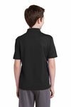 Sport-Tek YST640 Black PosiCharge Polyester RacerMesh Short Sleeve Polo Shirt Back