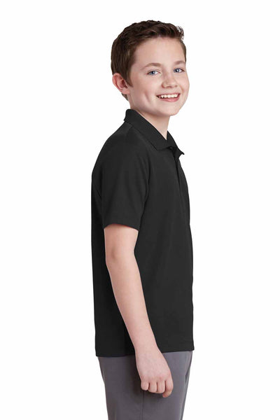 Sport-Tek YST640 Black PosiCharge Polyester RacerMesh Short Sleeve Polo Shirt Side