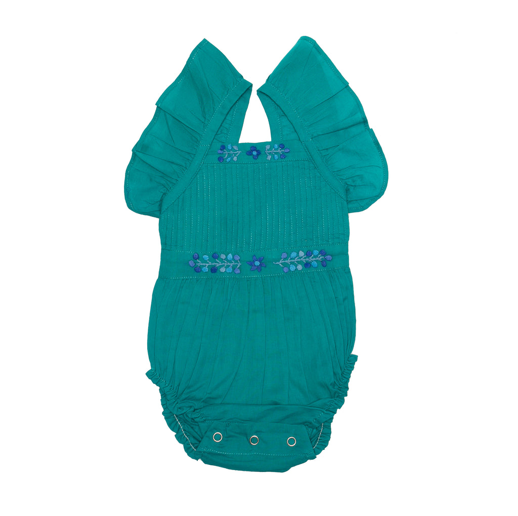 Coco & Ginger sadie sunsuit lapis w/ embroidery