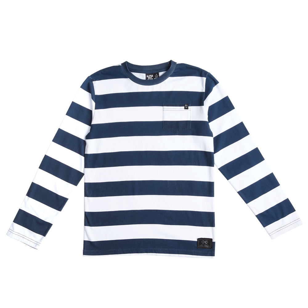 Alphabet soup Blunt Navy/White Stripe LS Tee