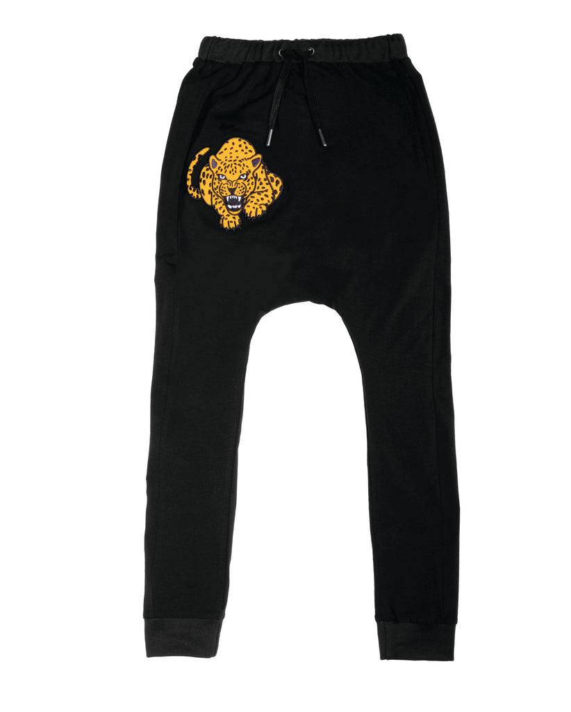 band of boys fierce leopard super slouch pants - black