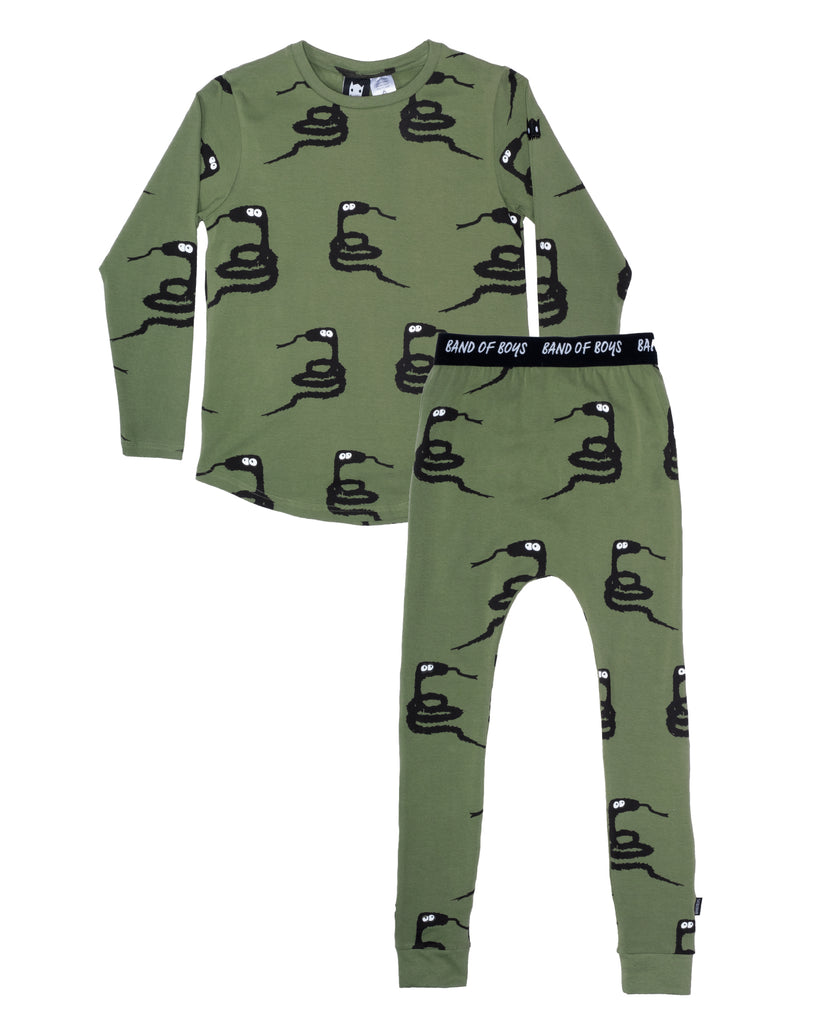 band of boys - winter furry snake PJ's - green
