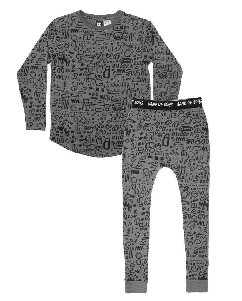 band of boys - winter Squiggle PJ's - grey marle