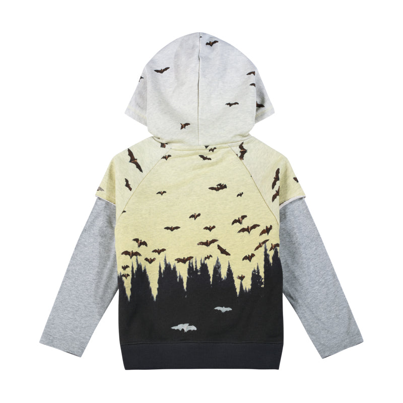Paper wings - hooded double sleeve sweater - dusk flight